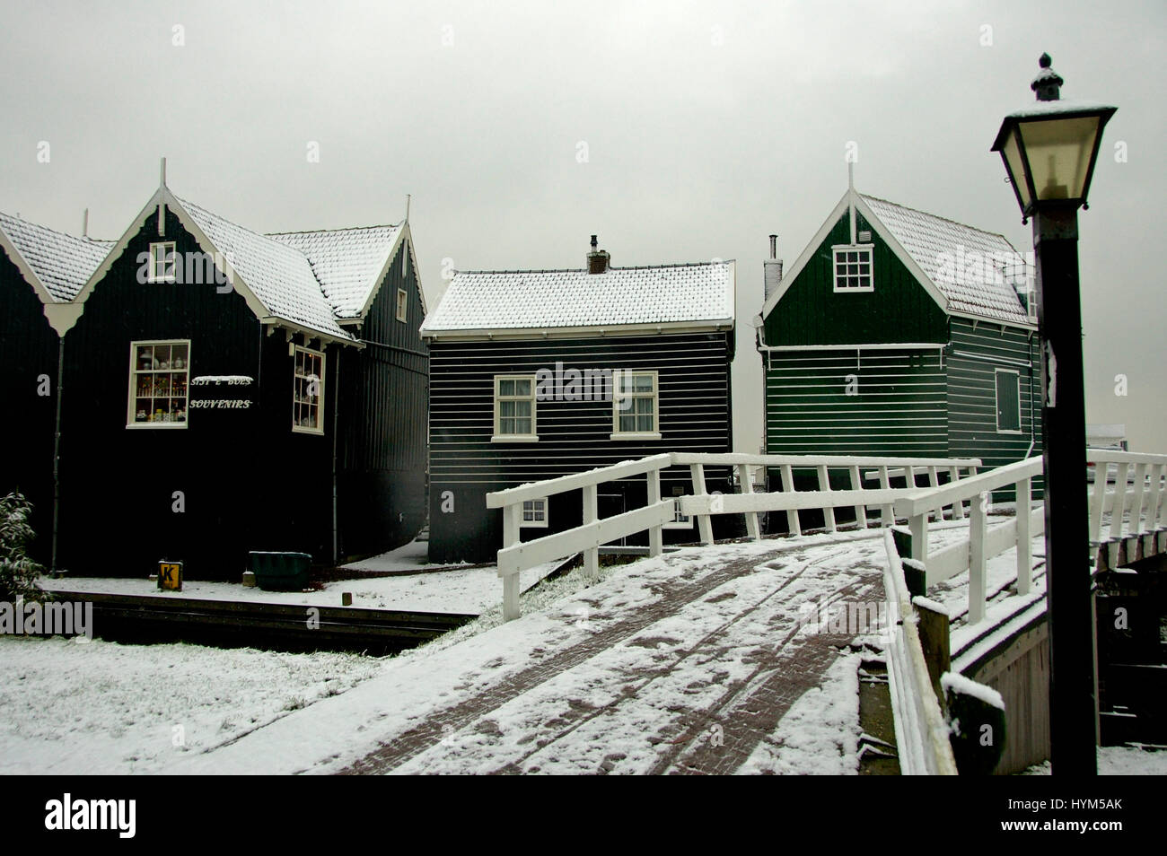 The traditional dutch village Marken in the Netherlands Stock Photo