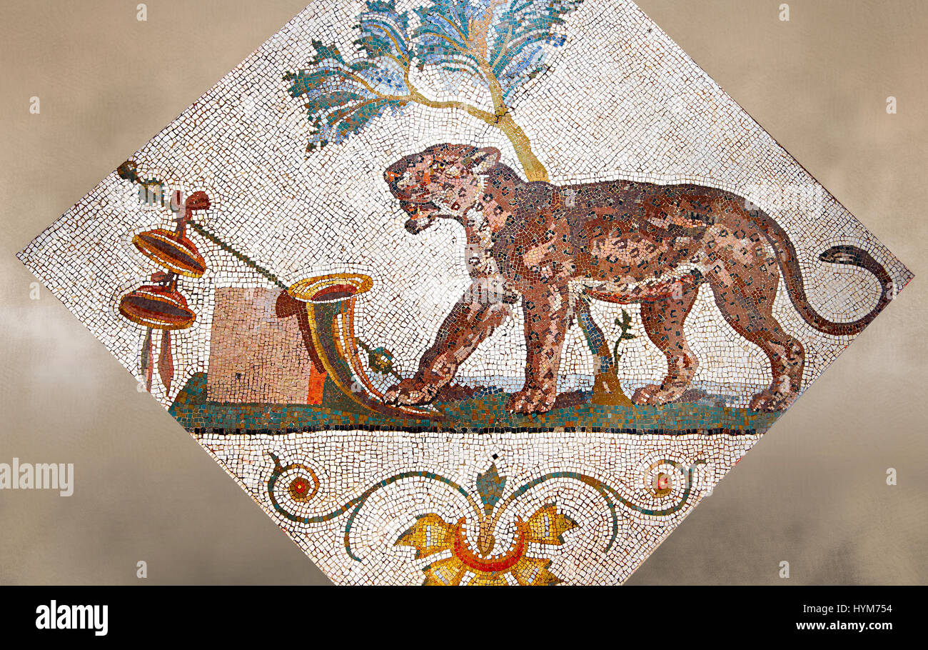 Roman Mosaics From Pompeii Showing A Panther With Dionysus Symbol
