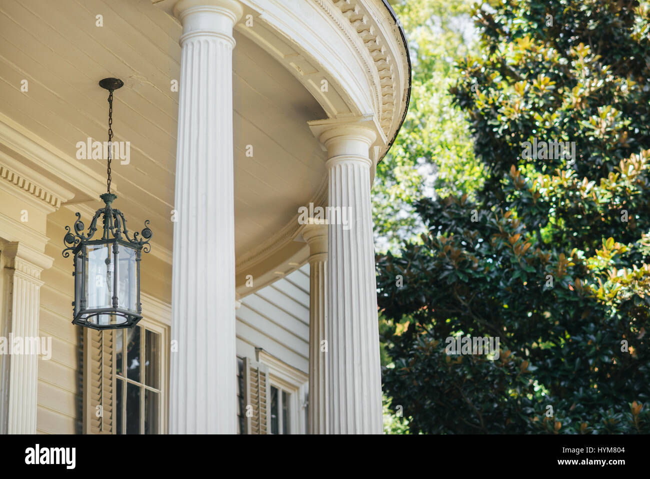 Outdoor Lighting Fixture And Columns Of A Historic Charleston Home In South Ina