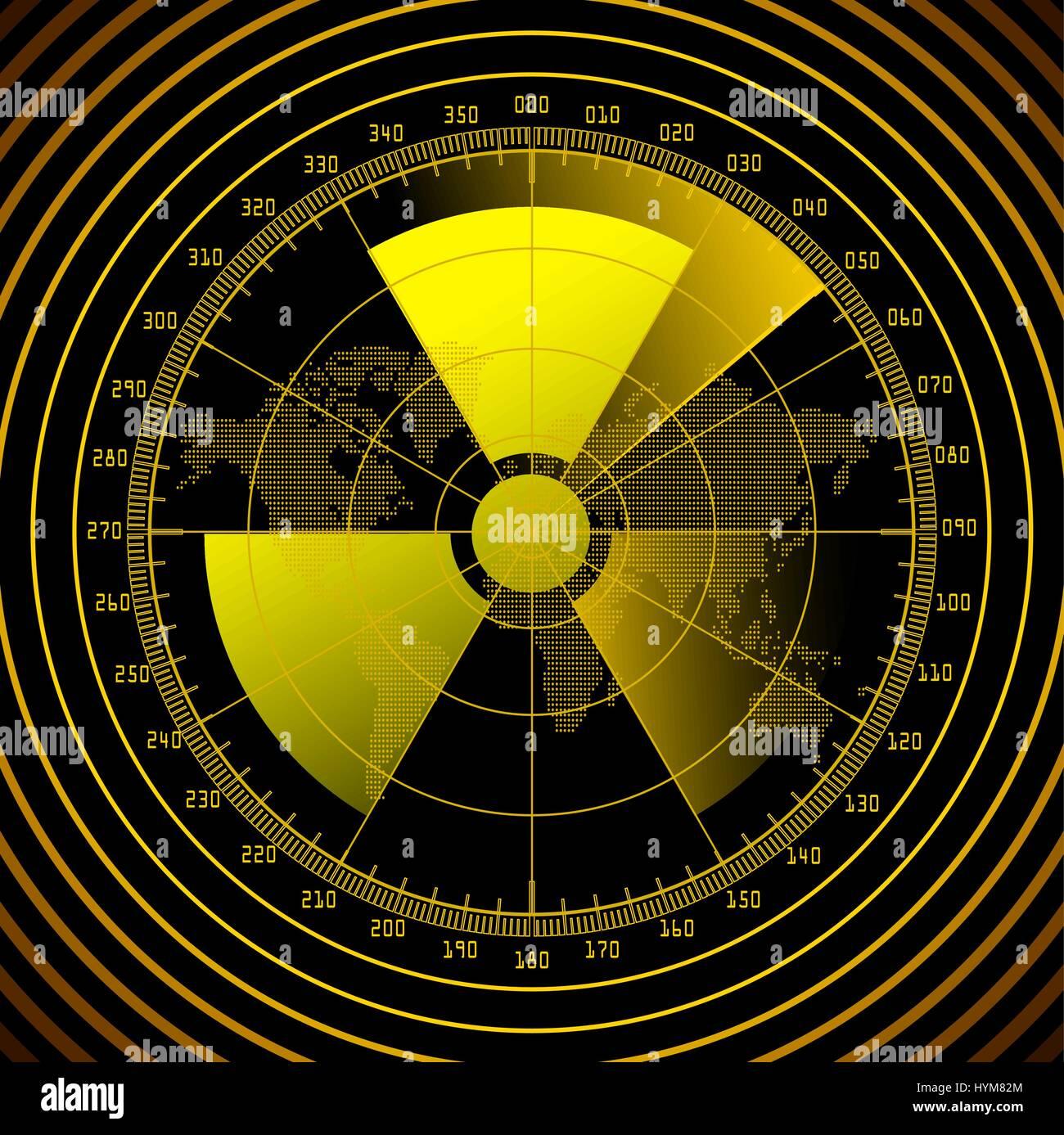 Radar screen with radioactive sign - Stock Vector