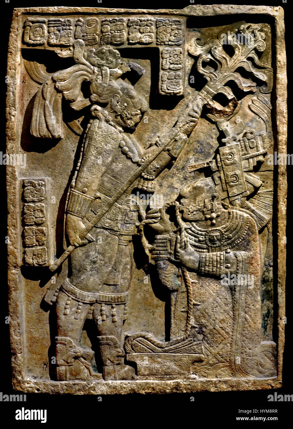 The Yaxchilan Lintels - Lintel 24 Bloodletting ritual performed by the king of Yaxchilan, Shield Jaguar II and his Stock Photo