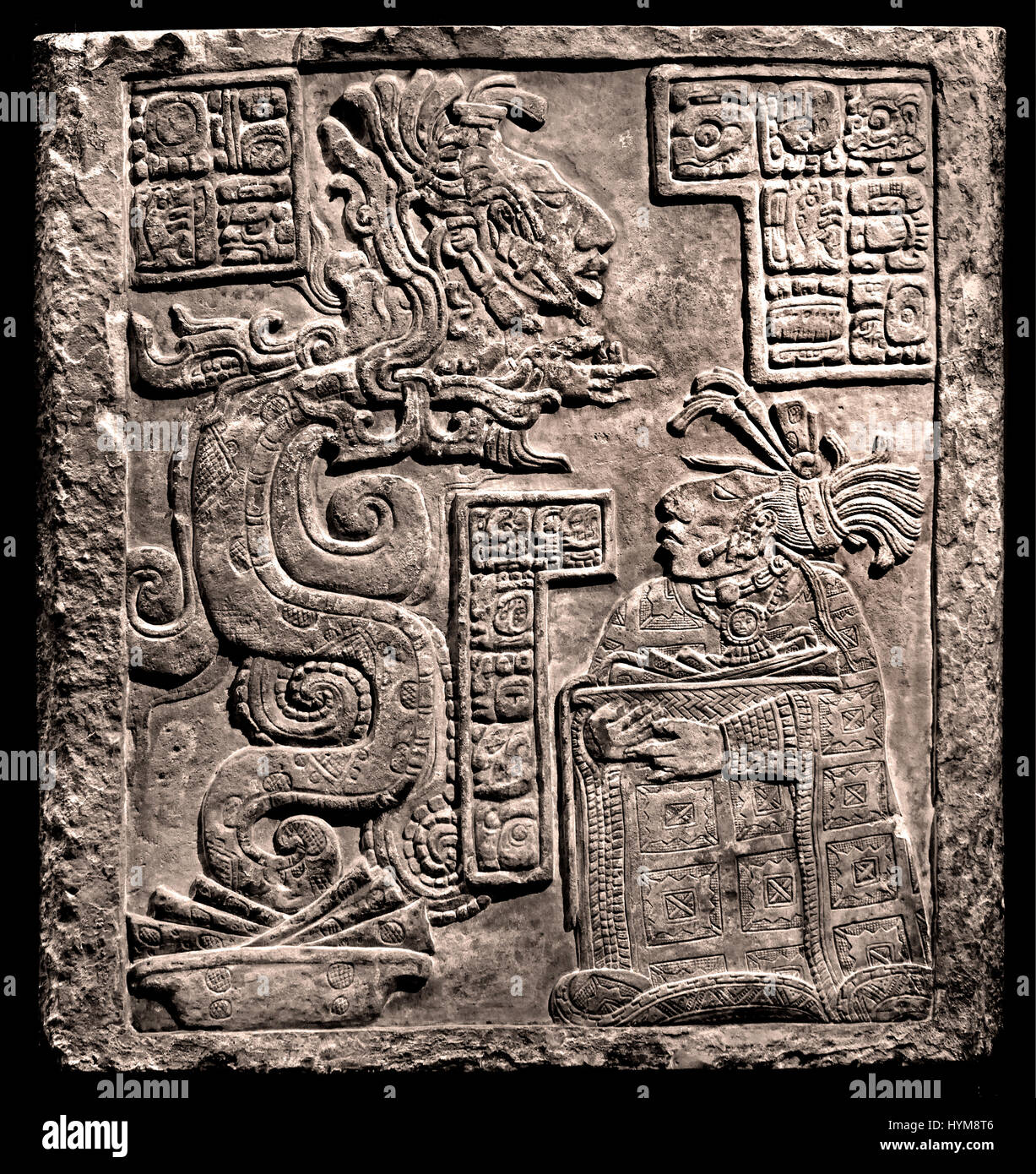 The Yaxchilan Lintels - Classic Maya 770 AD   Lintel 15 Lady Wak Tuun, during a bloodletting rite. She is carrying - Stock Image