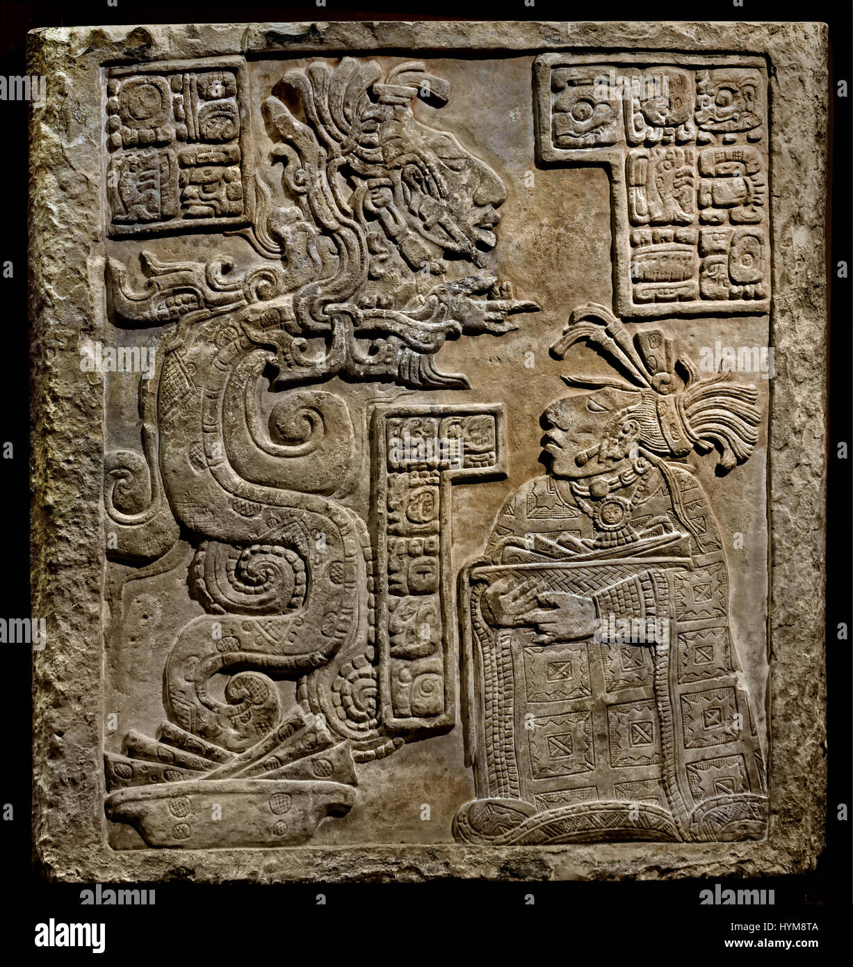 The Yaxchilan Lintels - Classic Maya 770 AD   Lintel 15 Lady Wak Tuun, during a bloodletting rite. She is carrying Stock Photo