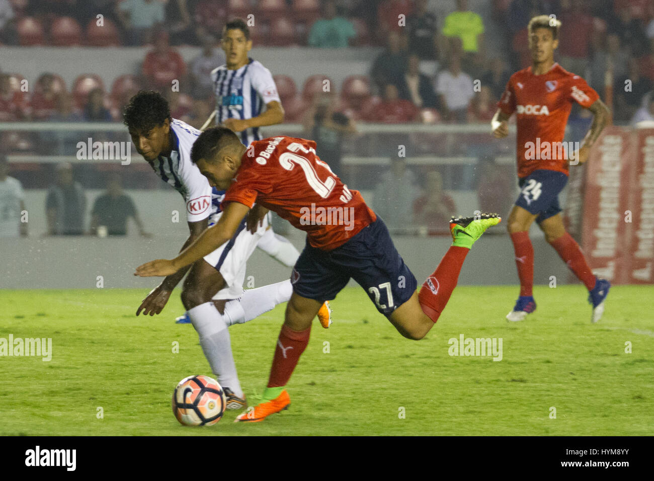 BUENOS AIRES, 04.04.2017:  Ezequiel Barco, forward of Independiente during match between Independiente (ARG) and - Stock Image