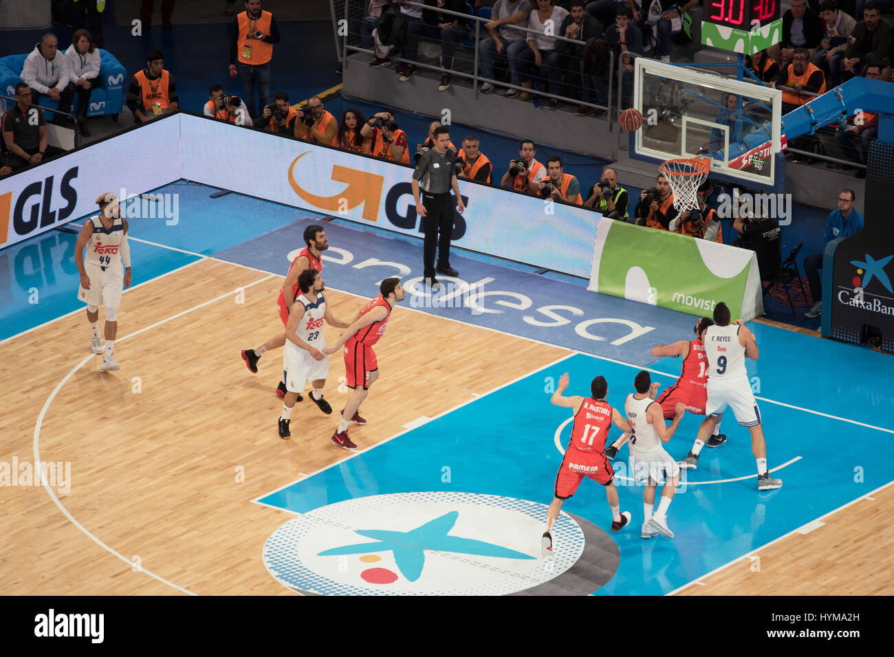 Vitoria, Spain - February 19, 2017: Some basketball players in action at Spanish Copa del rey final match between - Stock Image