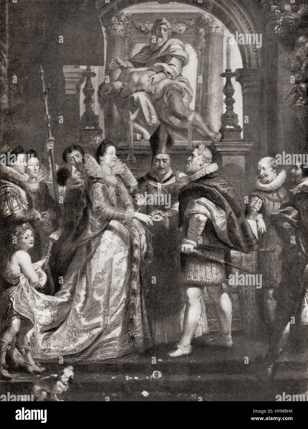 The Wedding by Proxy of Marie de' Medici to King Henry IV, after the painting by Peter Paul Rubens. Marie de' - Stock Image