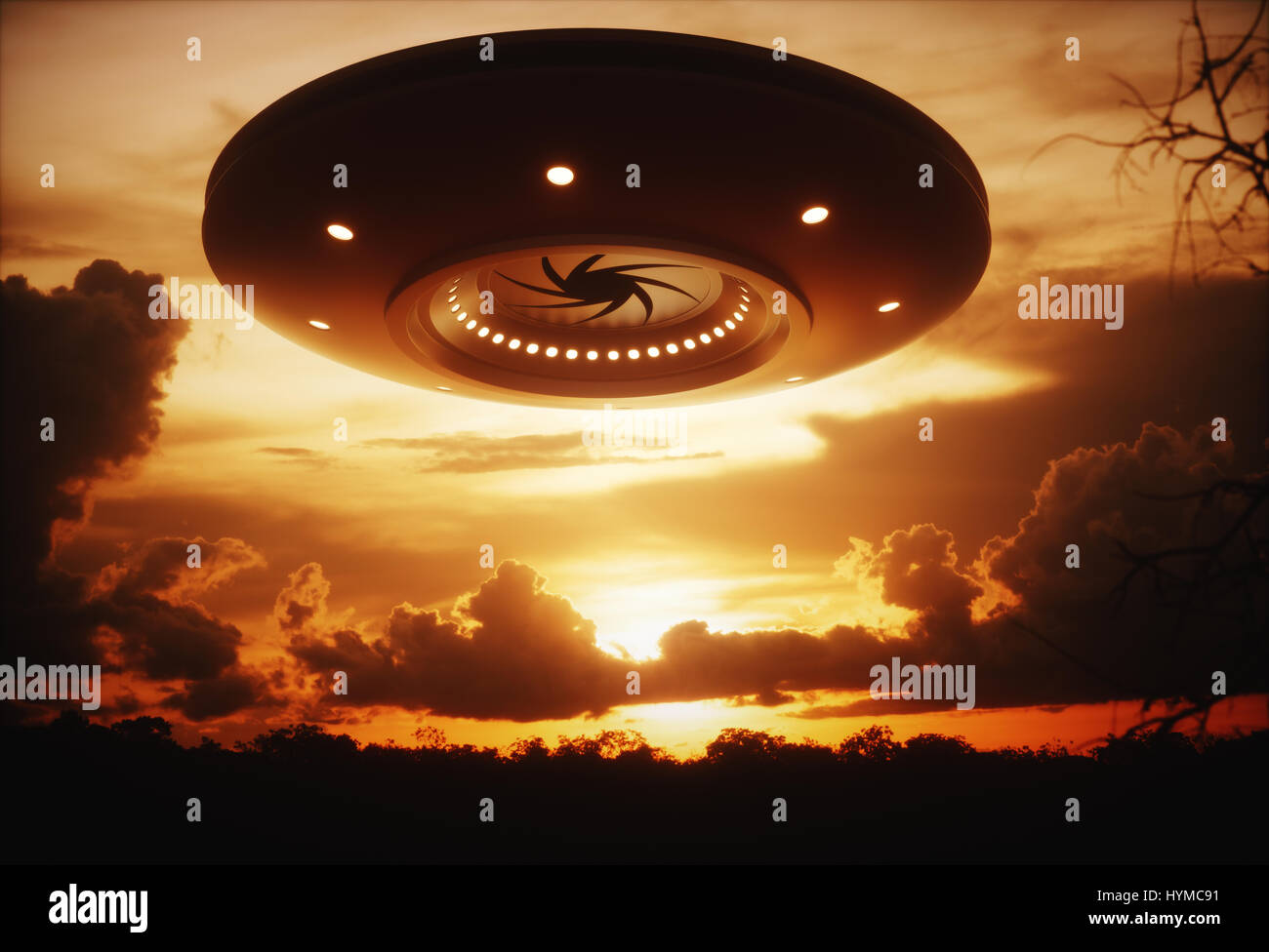 3D illustration with photography. Alien spaceship under the sunset. - Stock Image