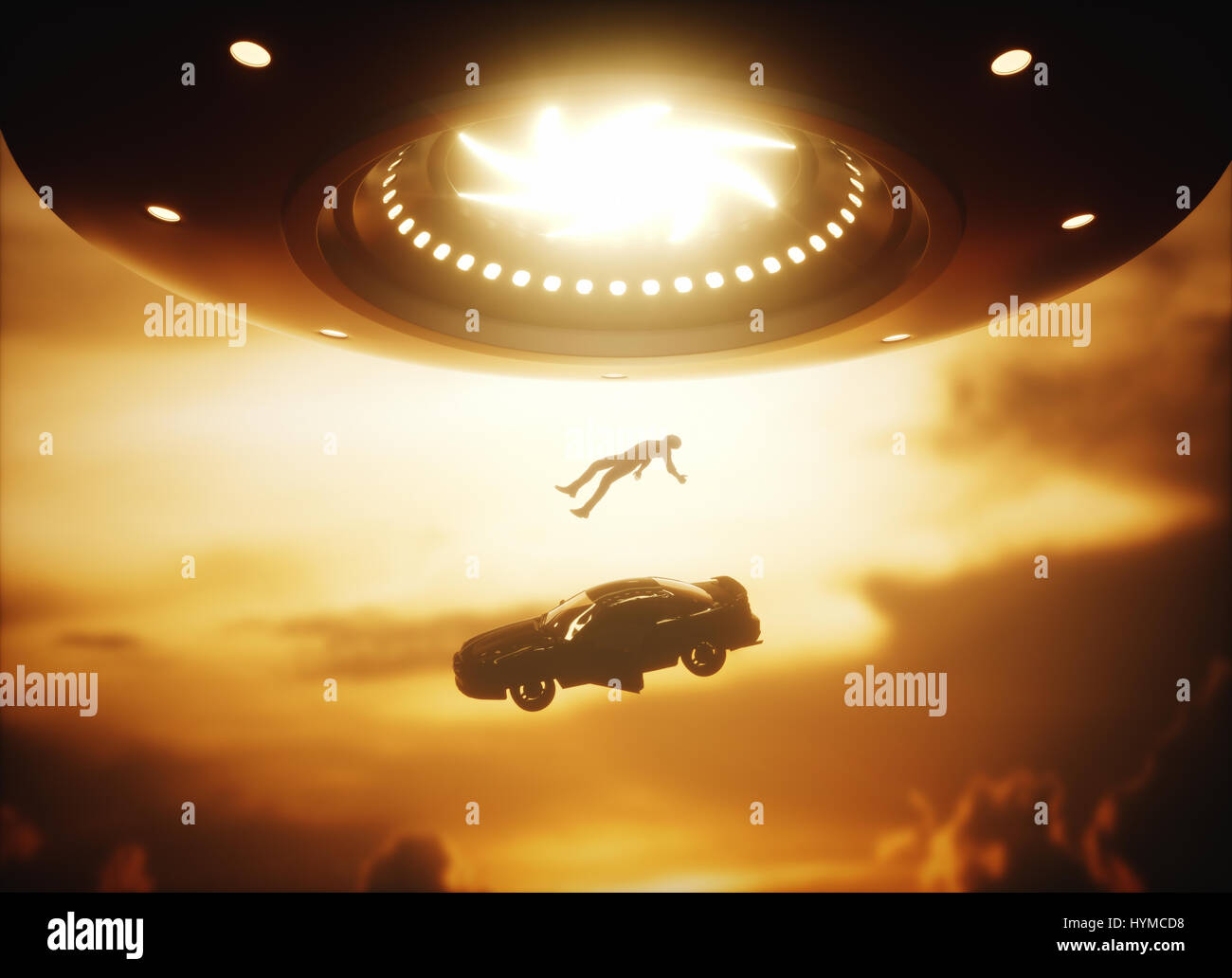 3D illustration. Man and his car floating to inside of alien ship. Concept of alien abduction. - Stock Image