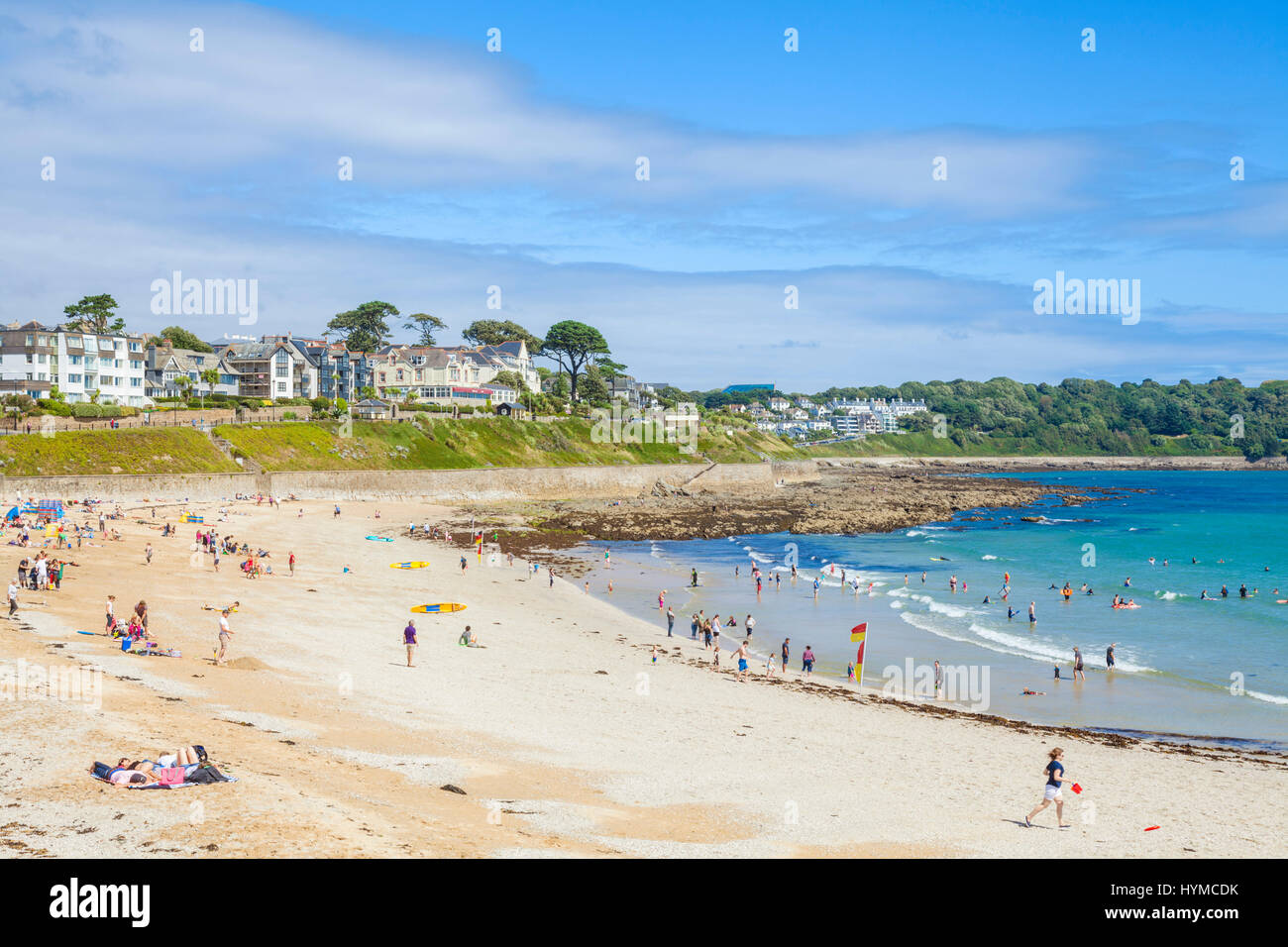 Falmouth cornwall busy Gyllyngvase Beach packed with holidaymakers on a busy beach Falmouth Cornwall west country - Stock Image