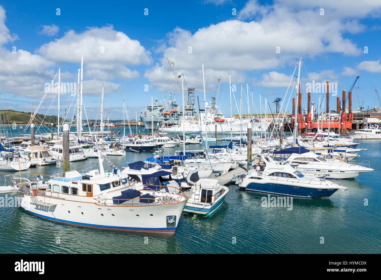 Falmouth cornwall Yachts and small boats in Port Pendennis Marina at  Falmouth Cornwall England West Country UK Stock Photo