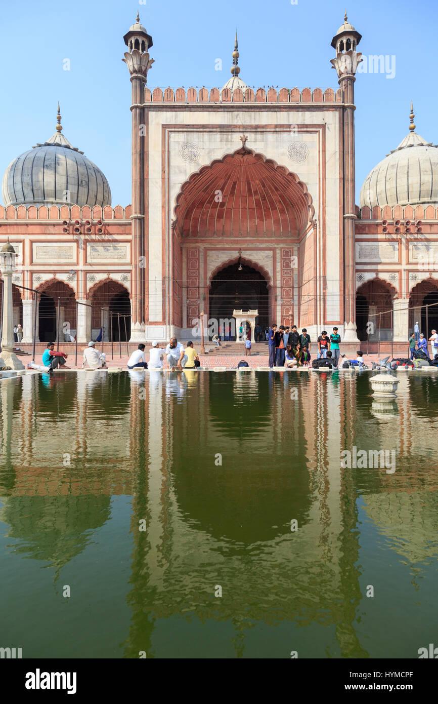Die Jama Masjid (Freitagsmoschee) in Delhi ist die größte Moschee Indiens und eine der größten der Erde, Indien Stock Photo