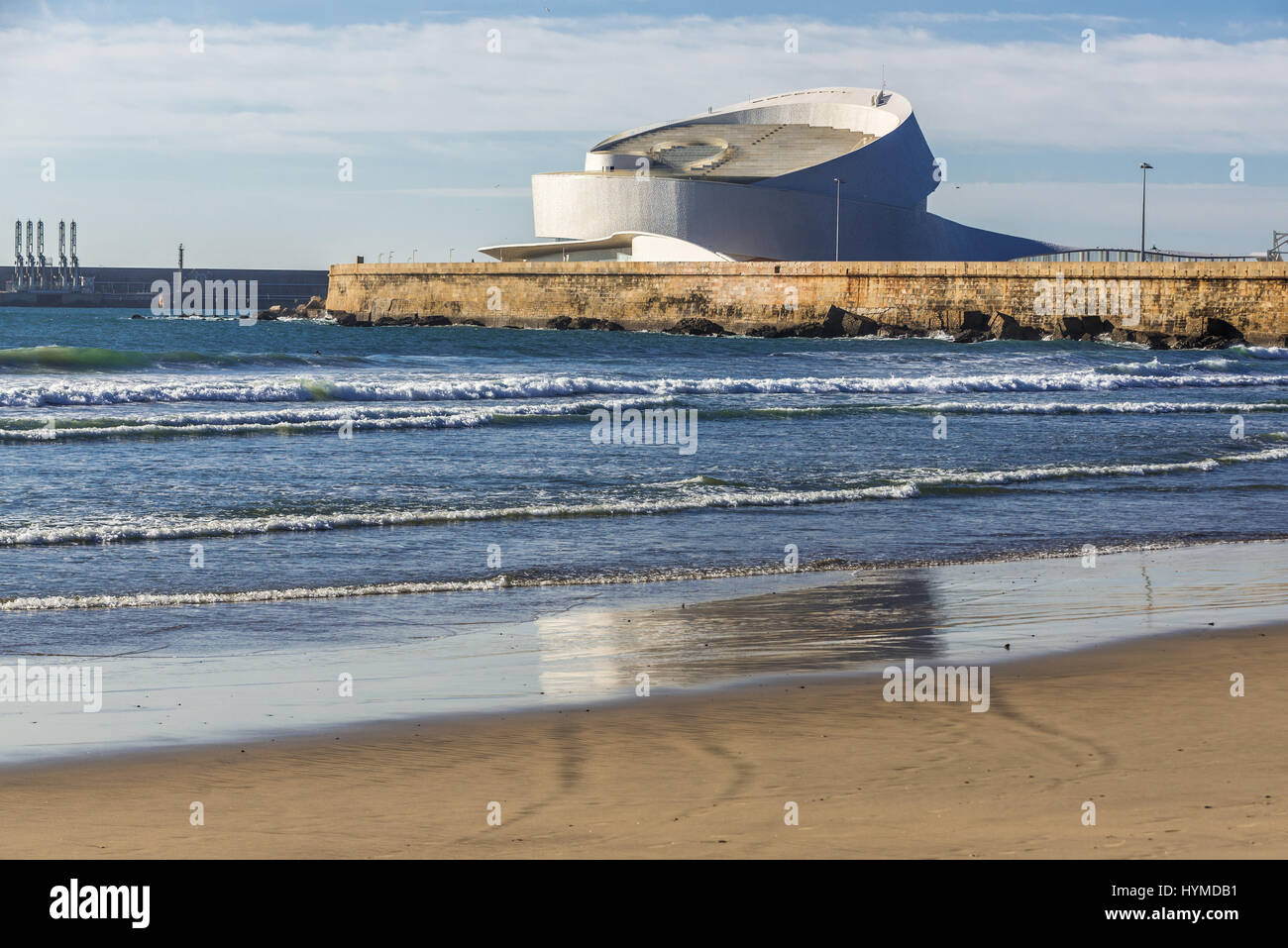 Port of Leixoes new Cruise Terminal building seen from beach in Matosinhos city, bordered with Porto, part of Grande Stock Photo