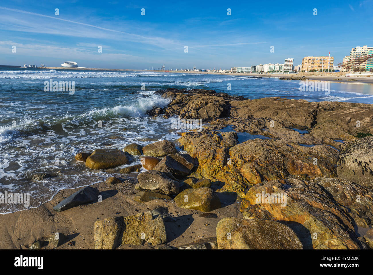 Rocky shore of Nevogilde civil parish of Porto, second largest city in Portugal. Port of Leixoes Cruise Terminal Stock Photo