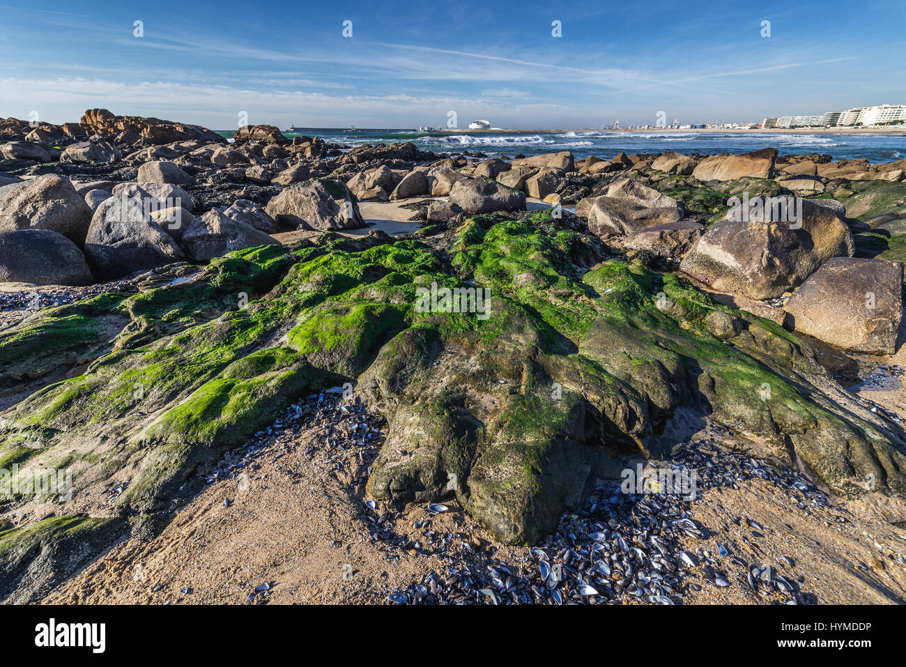Rocky beach of Nevogilde civil parish of Porto, second largest city in Portugal. Cruise Terminal of Leixoes Port Stock Photo