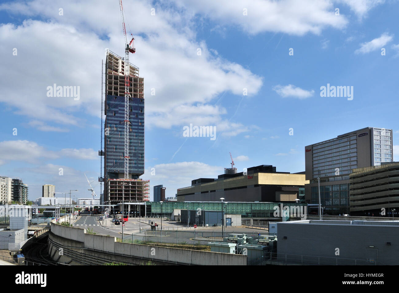 New tower block under constucion in Stratford, East London UK - Stock Image