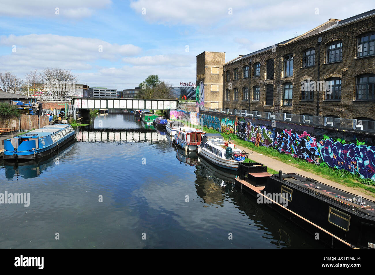 River Lea Navigation at Hackney Wick, on the edge of the Queen Elizabeth Olympic Park in London's East End, - Stock Image