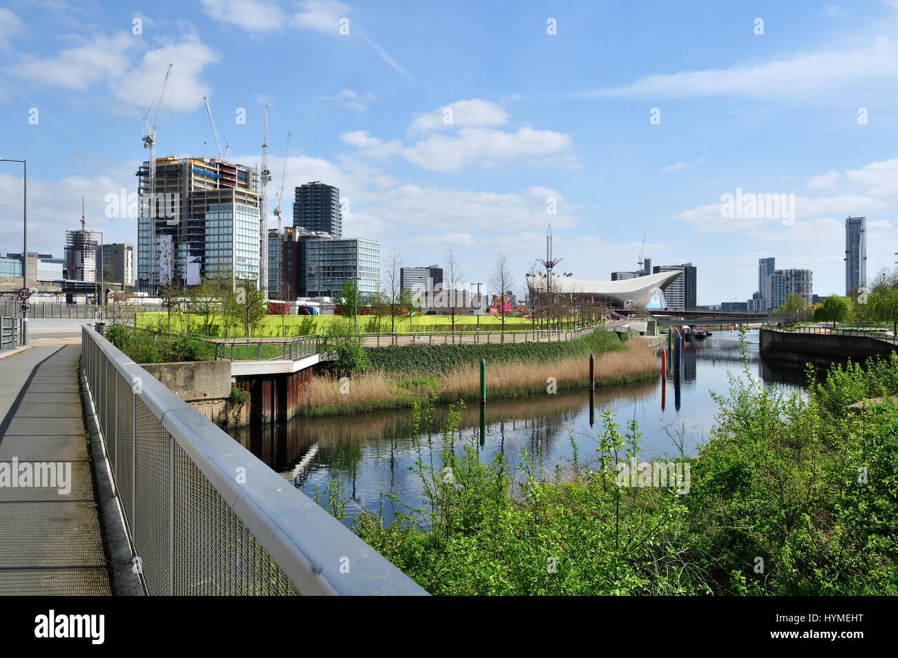New buildings under construction at Stratford East London, viewed from the Queen Elizabeth Olympic Park - Stock Image