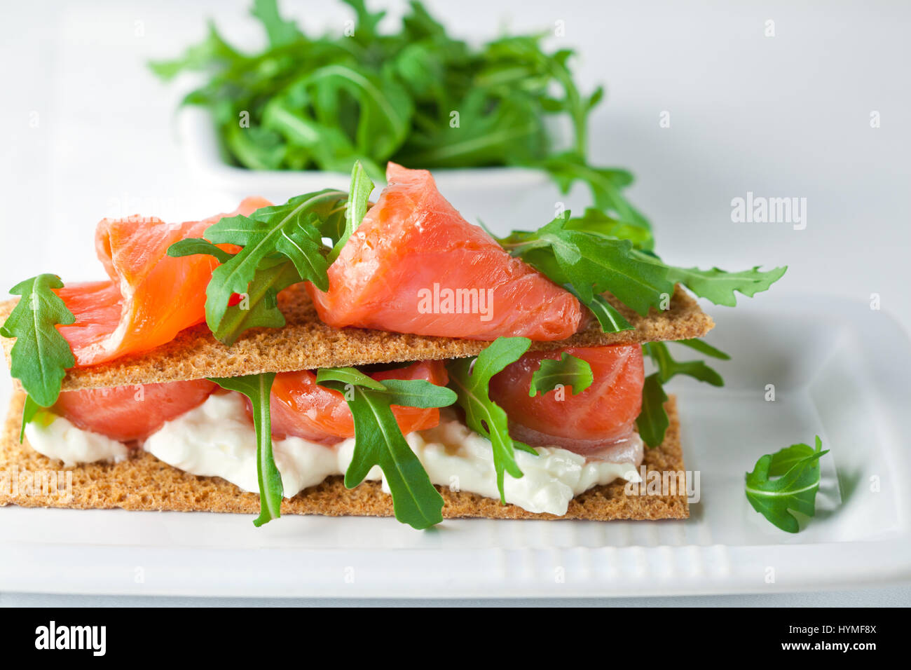 Smoked Salmon Canapes with Cream Cheese  - Stock Image