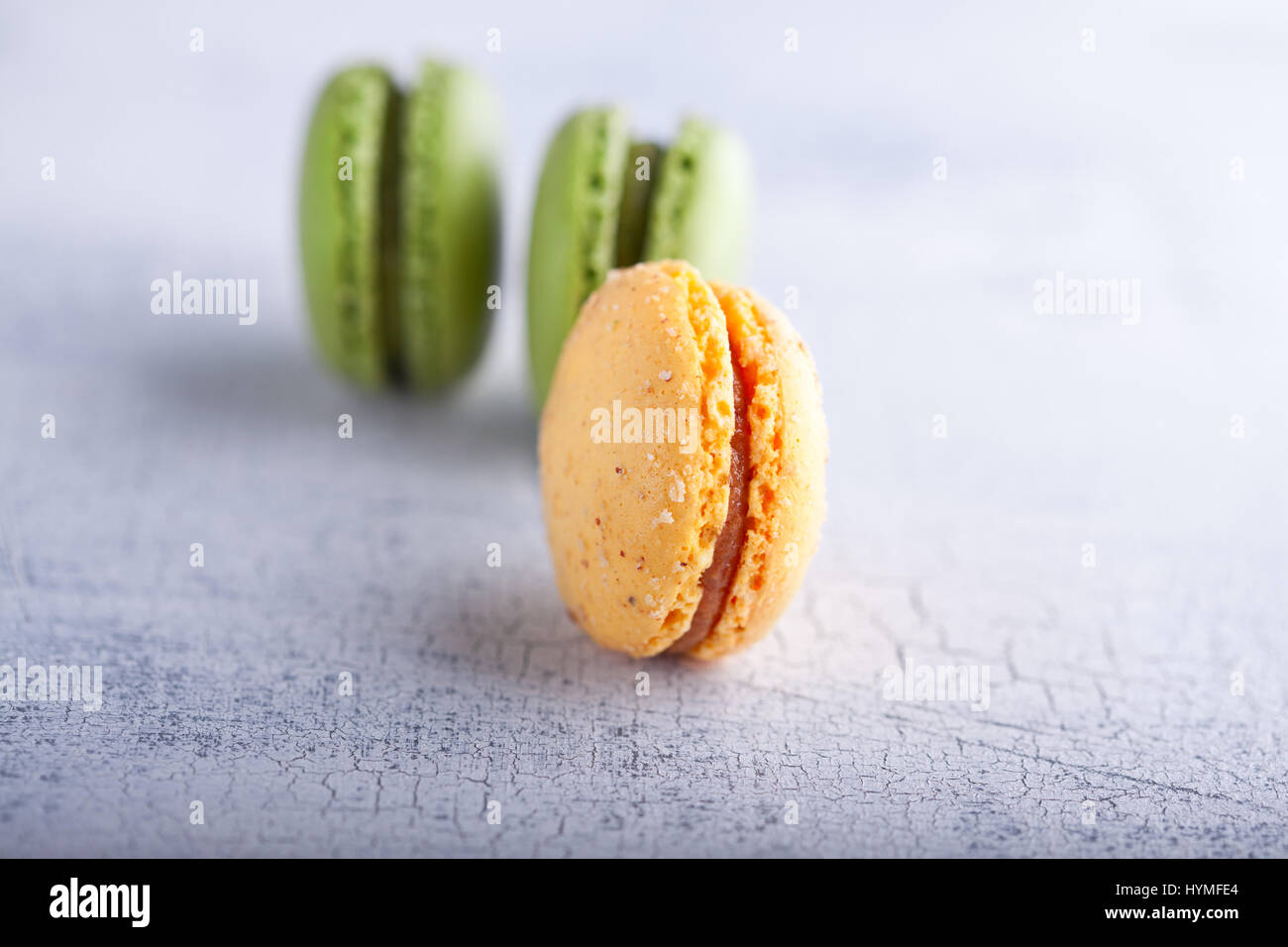 Almond cookies French macaroons - Stock Image