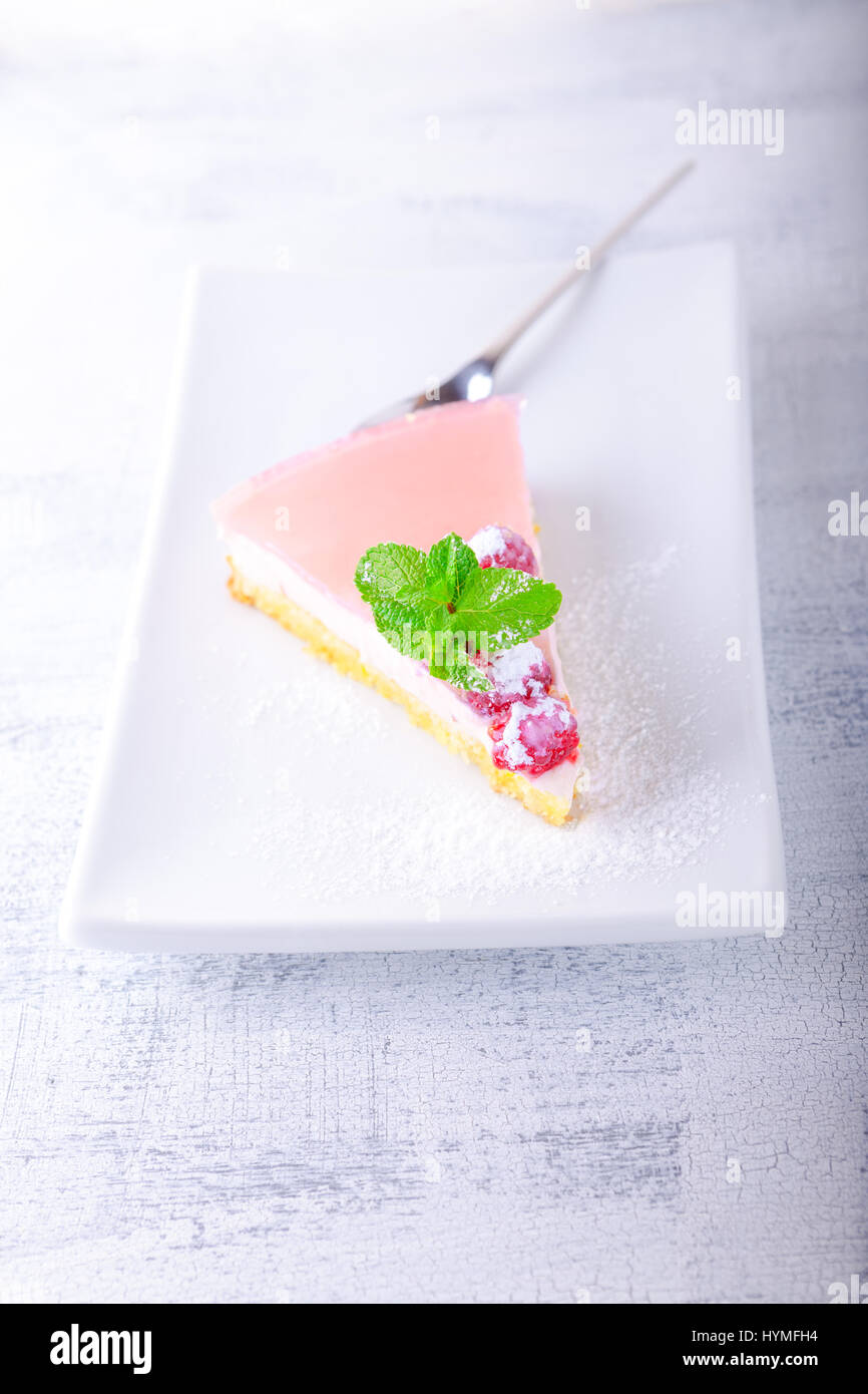 Yogurt homemade cheesecake - Stock Image