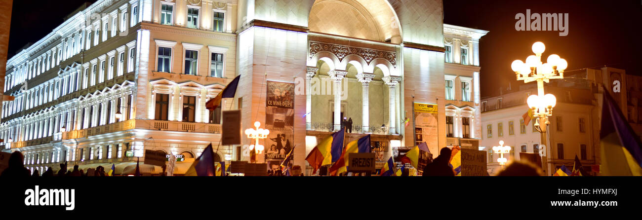 Demonstrations in Timisoara Romania people fighting against corruption - Stock Image
