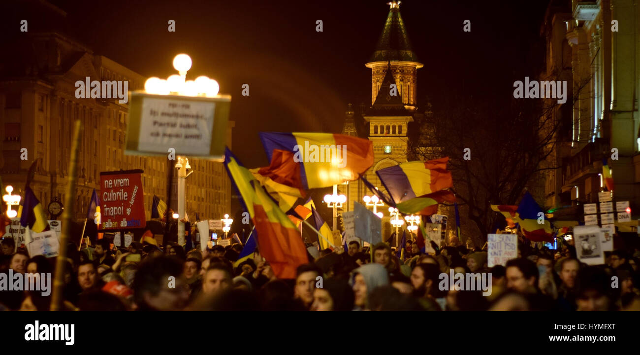 People against Corruption Protest in Timisoara Romania - Stock Image
