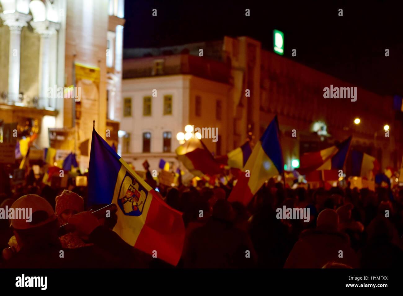 People protesting against corruption in Timisoara Romania - Stock Image