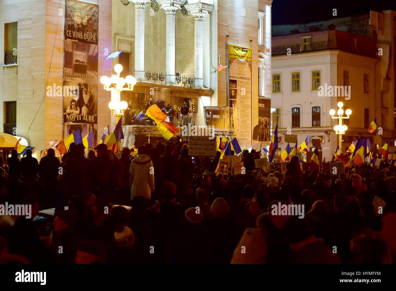 Protesters In Operei Square in Timisoara - Stock Image