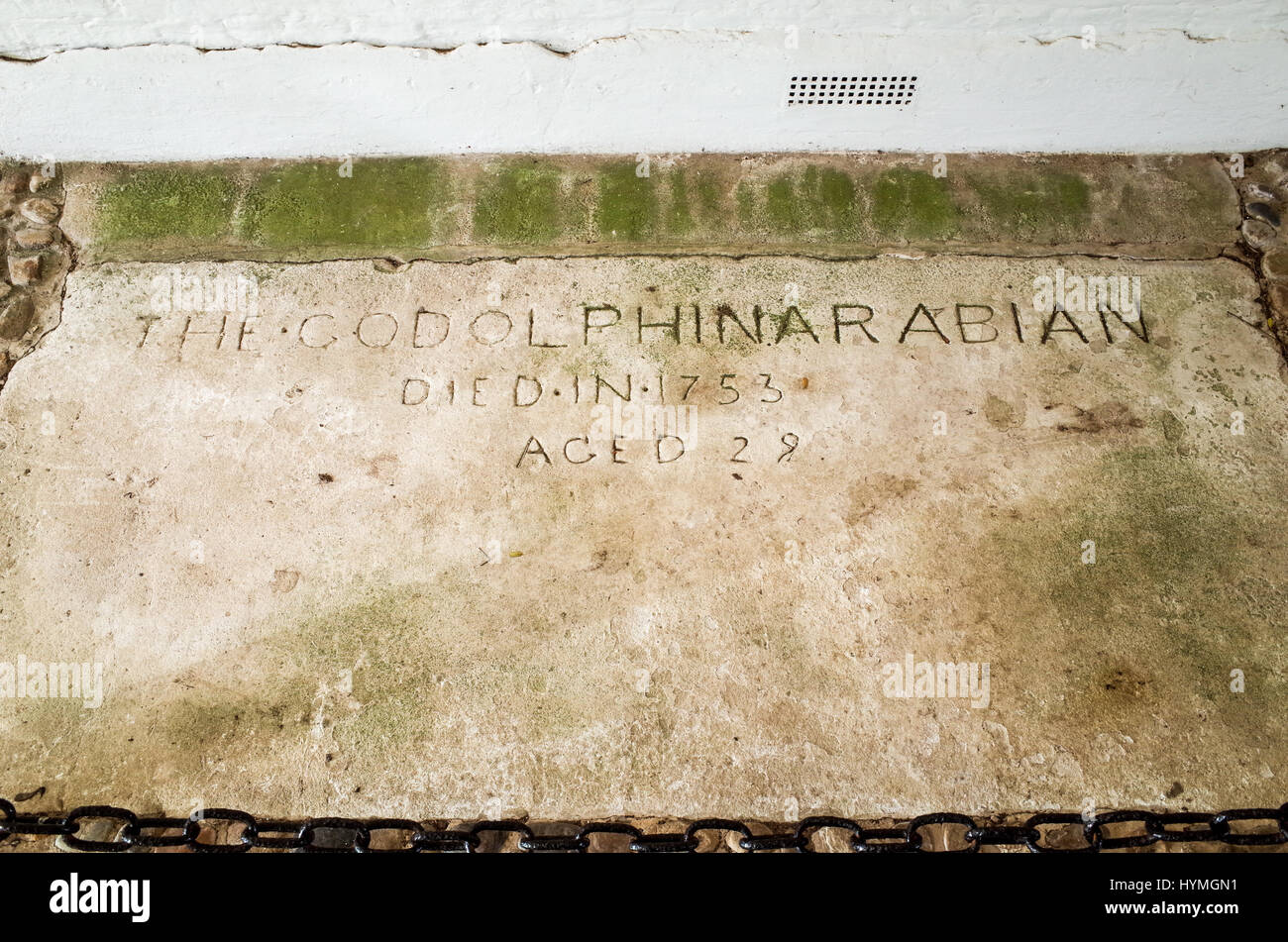 The grave of Godolphin Arabian, aka Godolphin Barb, one of three stallions that established the modern thoroughbred - Stock Image