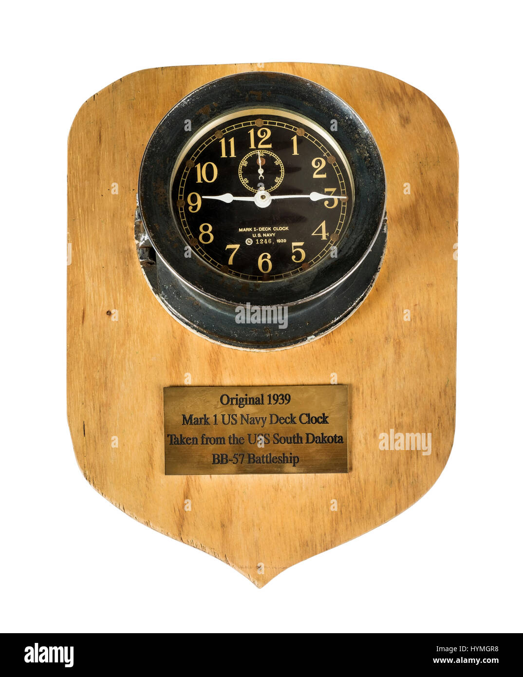 A WW2 Mark 1 US Navy Deck Clock by Seth Thomas, dated 1939, with engraved plaque stating it was taken from the USS - Stock Image