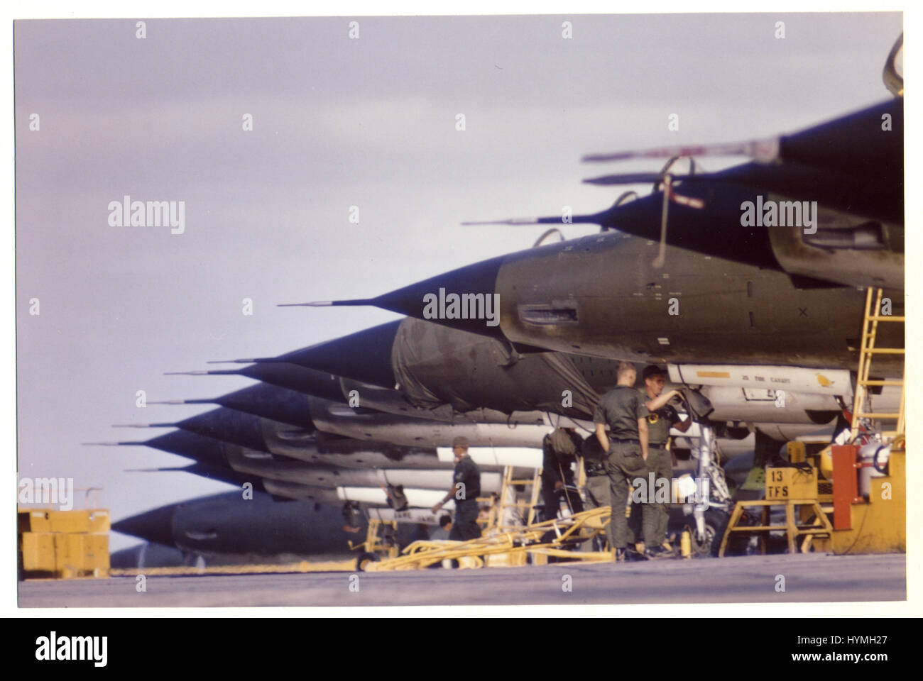 F-100s on a flight line at Takhli Air Base, Thailand, 1966. - Stock Image