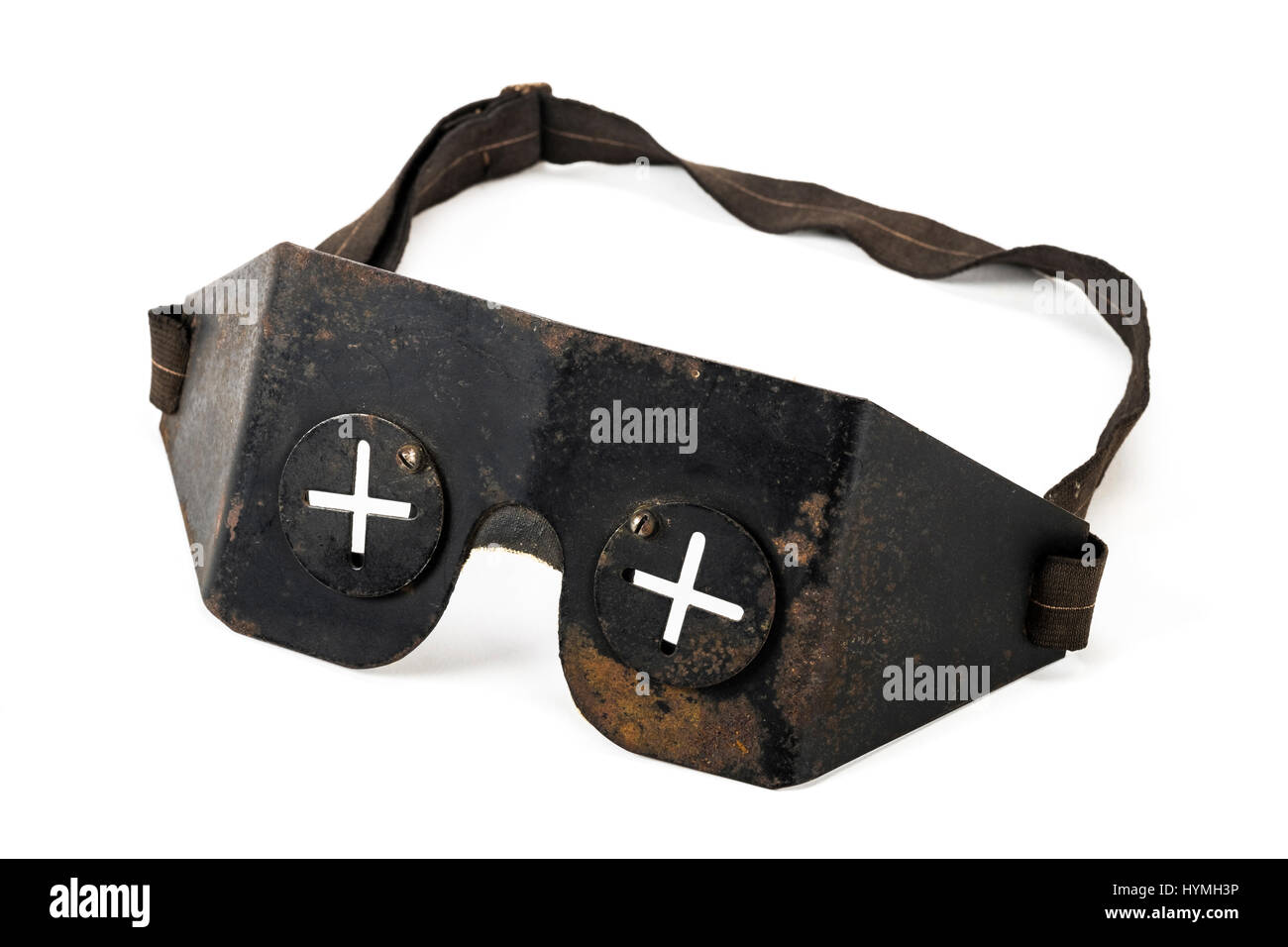 Authentic pair of WW2 flak goggles used by British Royal Air Force (RAF) pilots and on the ground with ARP and other - Stock Image