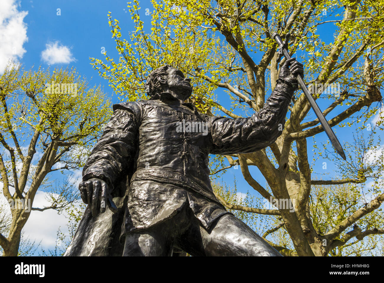 Statue of Sir Laurence Olivier, the famous Shakespearean actor, Theatre Square, outside the National Theatre, South - Stock Image