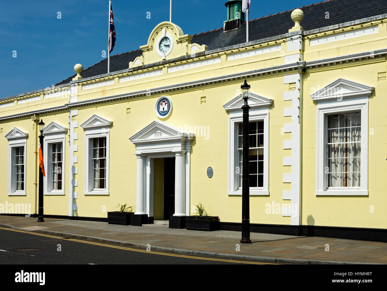 The Town Hall, built 1779, originally the courthouse and gaol, Carrickfergus, County Antrim, Northern Ireland, UK - Stock Image