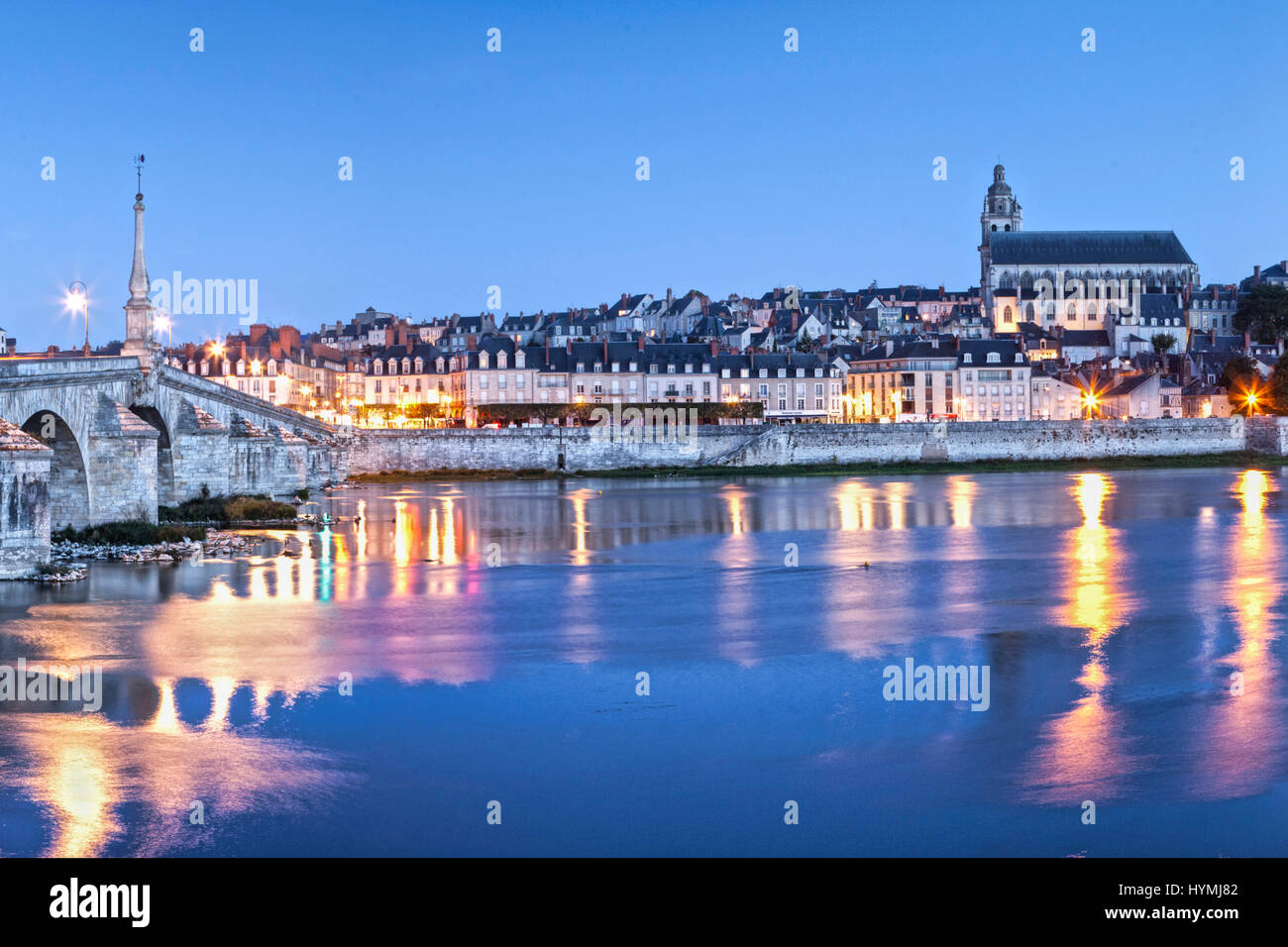 A panoramic view of the ancient town of Blois, on the Loire, Centre, France, at twilight. - Stock Image