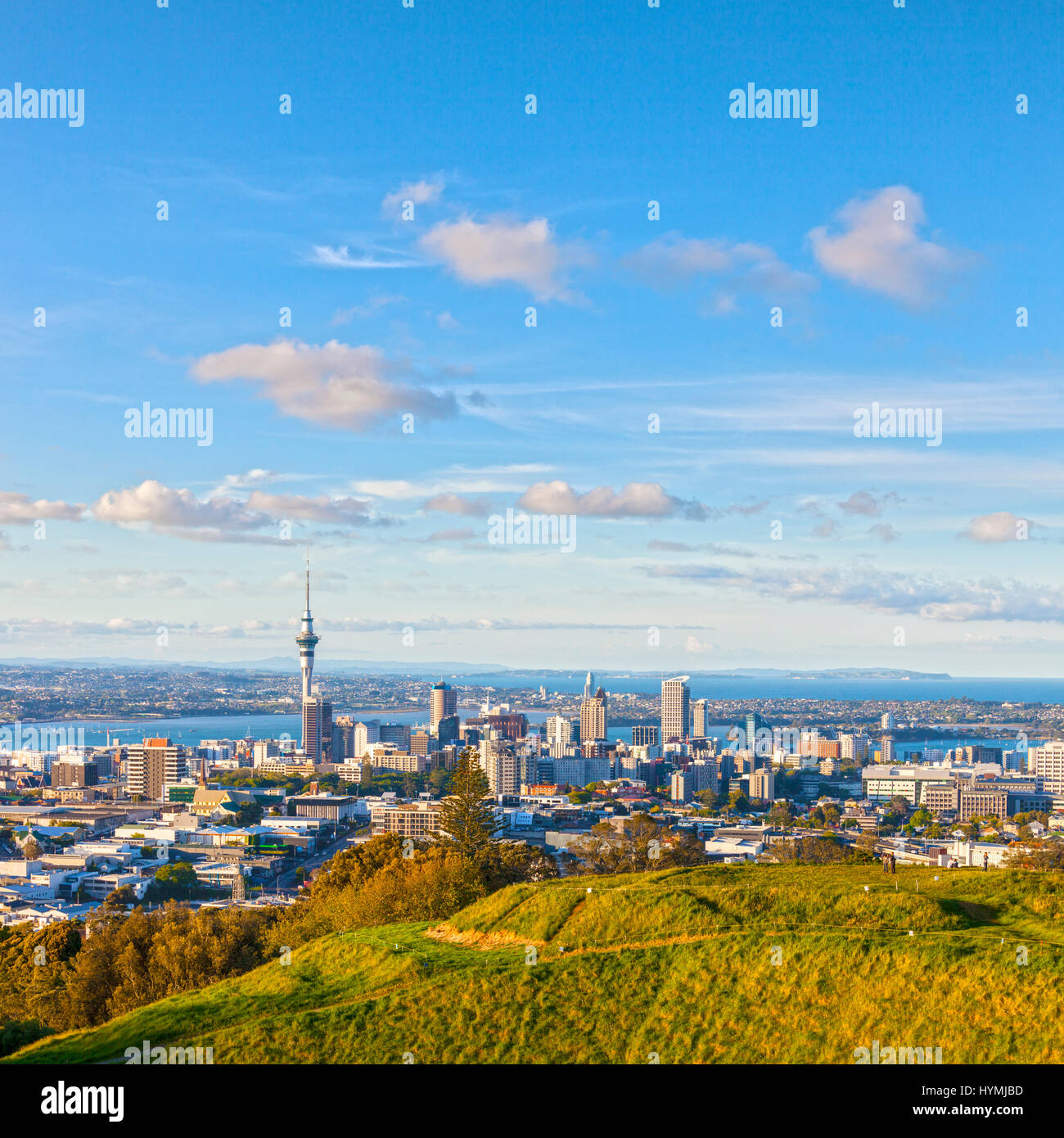 Auckland, New Zealand, from the volcano Mount Eden, the crater rim is in the foreground. - Stock Image