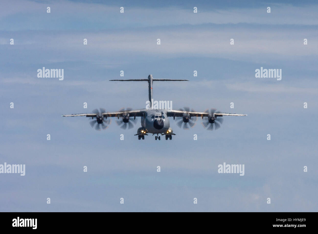 Airbus A400M Atlas on approach to land on July 19th 2010 at Farnborough, Hampshire, UK - Stock Image