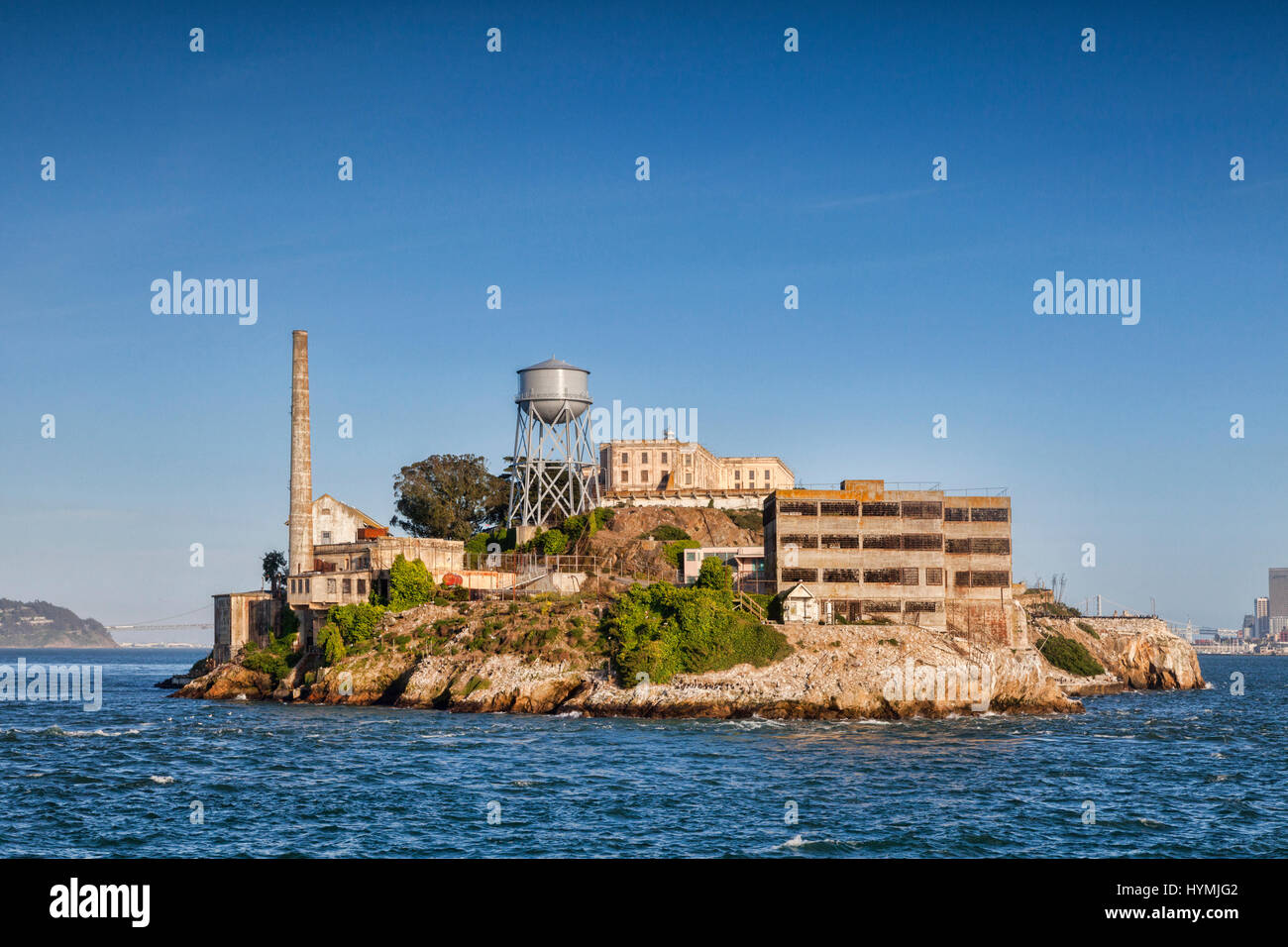 Alcatraz Island in San Francisco Bay, the famous high security prison which is now a National Park and a major tourist - Stock Image