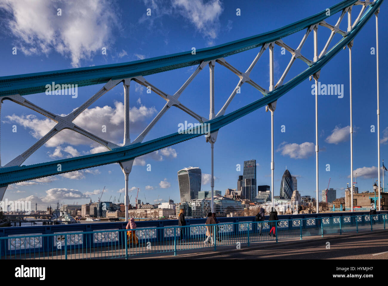 London skyline with the Walkie Talkie, the Cheese Grater and the Gherkin, seen through the superstructure of Tower - Stock Image