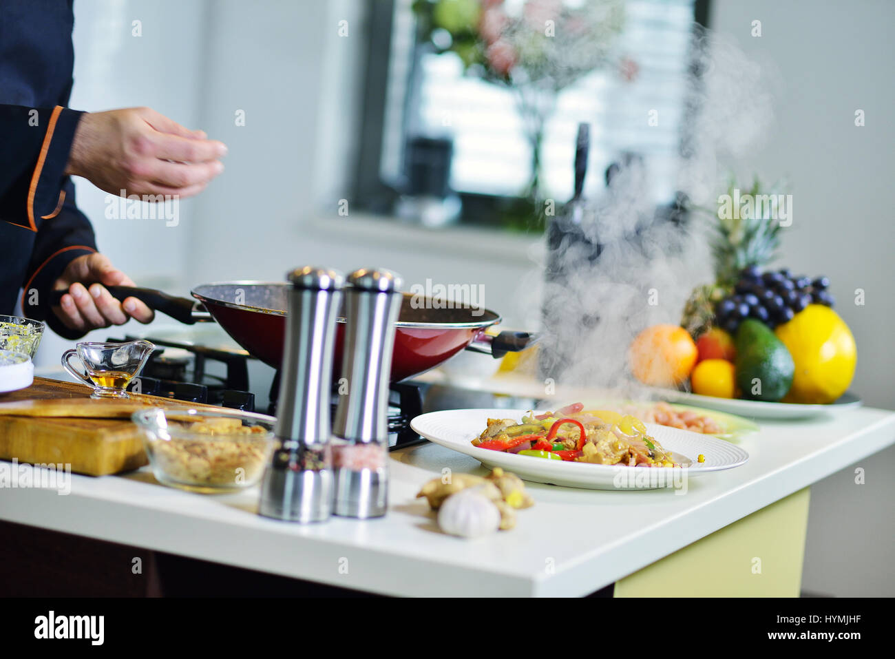Mature Chef Preparing Meal Various Stock Photos & Mature Chef ...