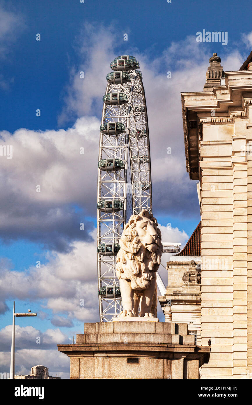 The South Bank Lion and the London Eye, London, England. - Stock Image