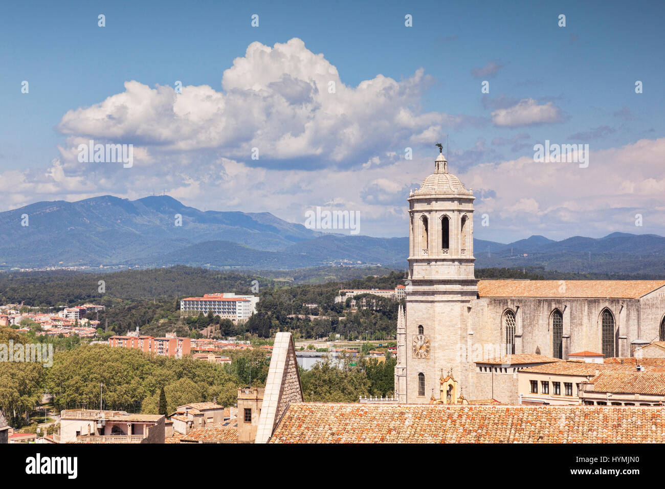The Cathedral of St Mary of Girona, and a view to the Pyreneesl,  Girona, Catalonia, Spain. - Stock Image
