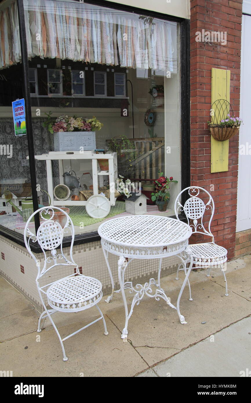 Patio Furniture On Street In Front Of Consignment Shop Mebane North  Carolina USA   Stock Image