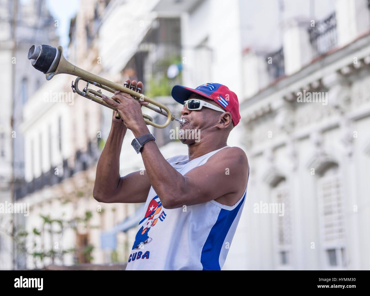 Cuban musician playing saxophone in Havana City, Cuba, West Indies, Central America - Stock Image