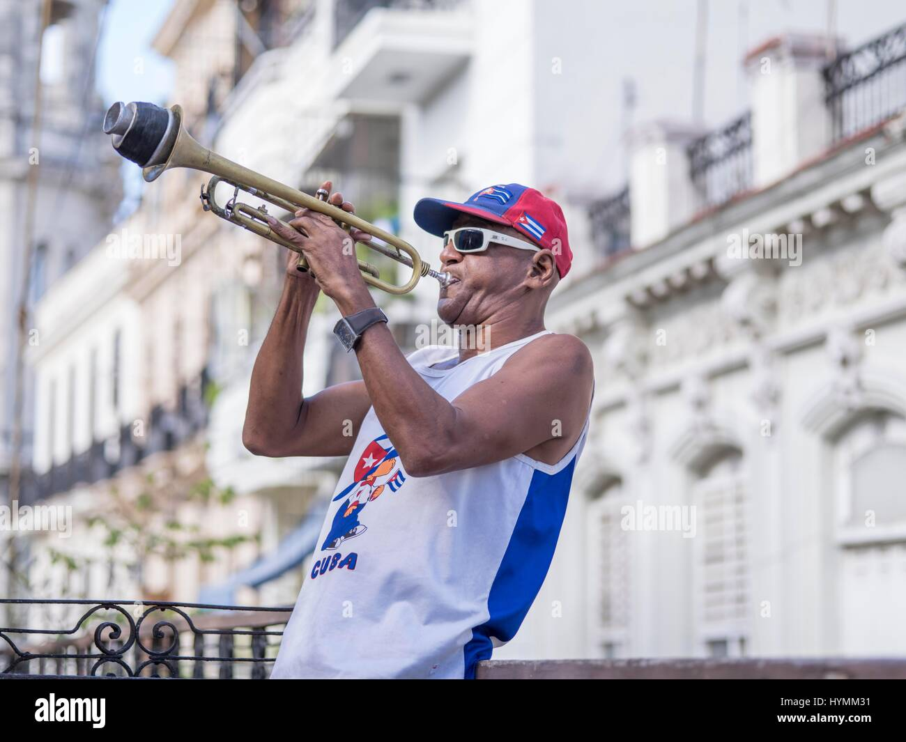 Cuban musician playing trumpet in Havana City, Cuba, West Indies, Central America - Stock Image