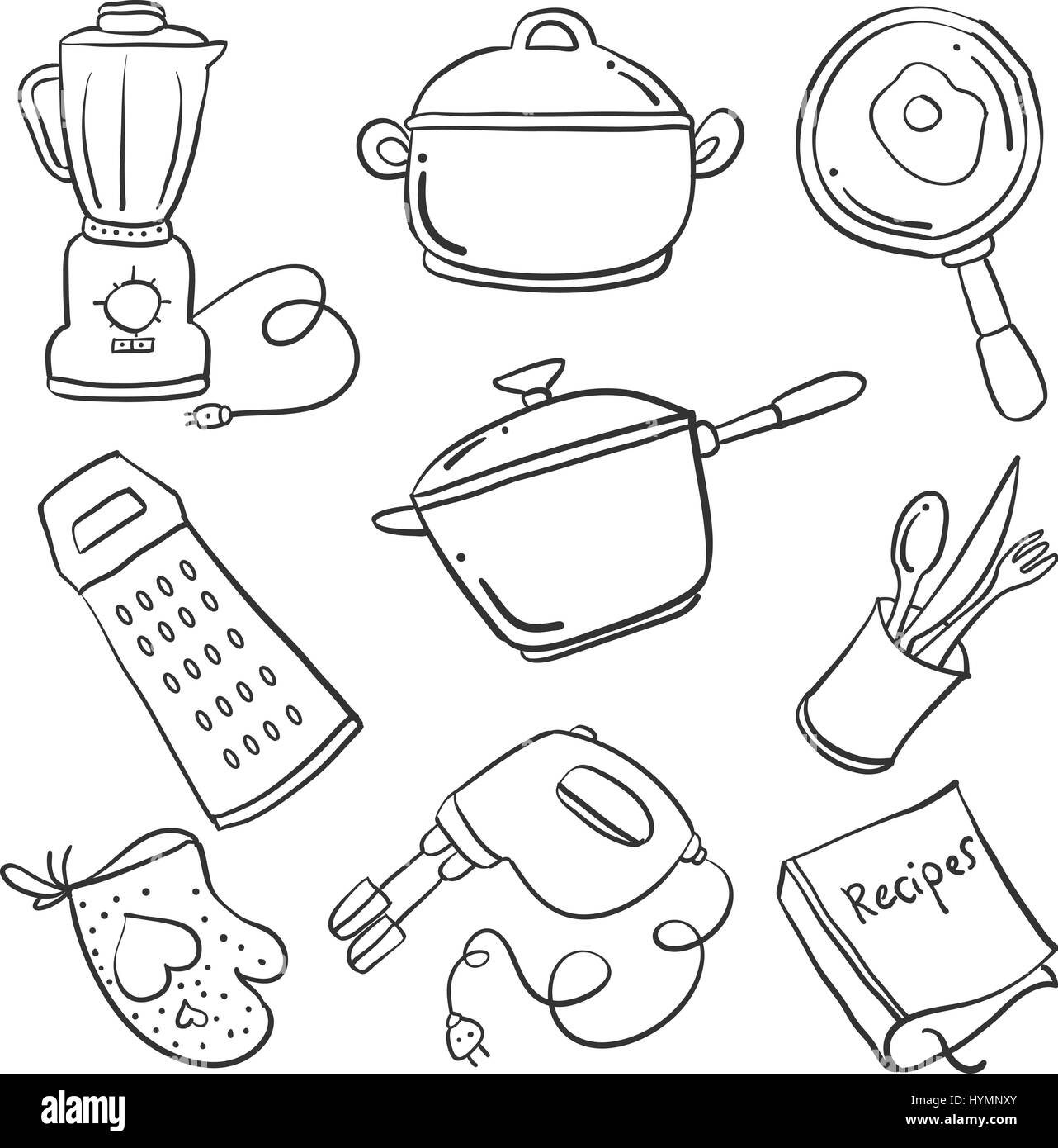 Doodle of kitchen set collection