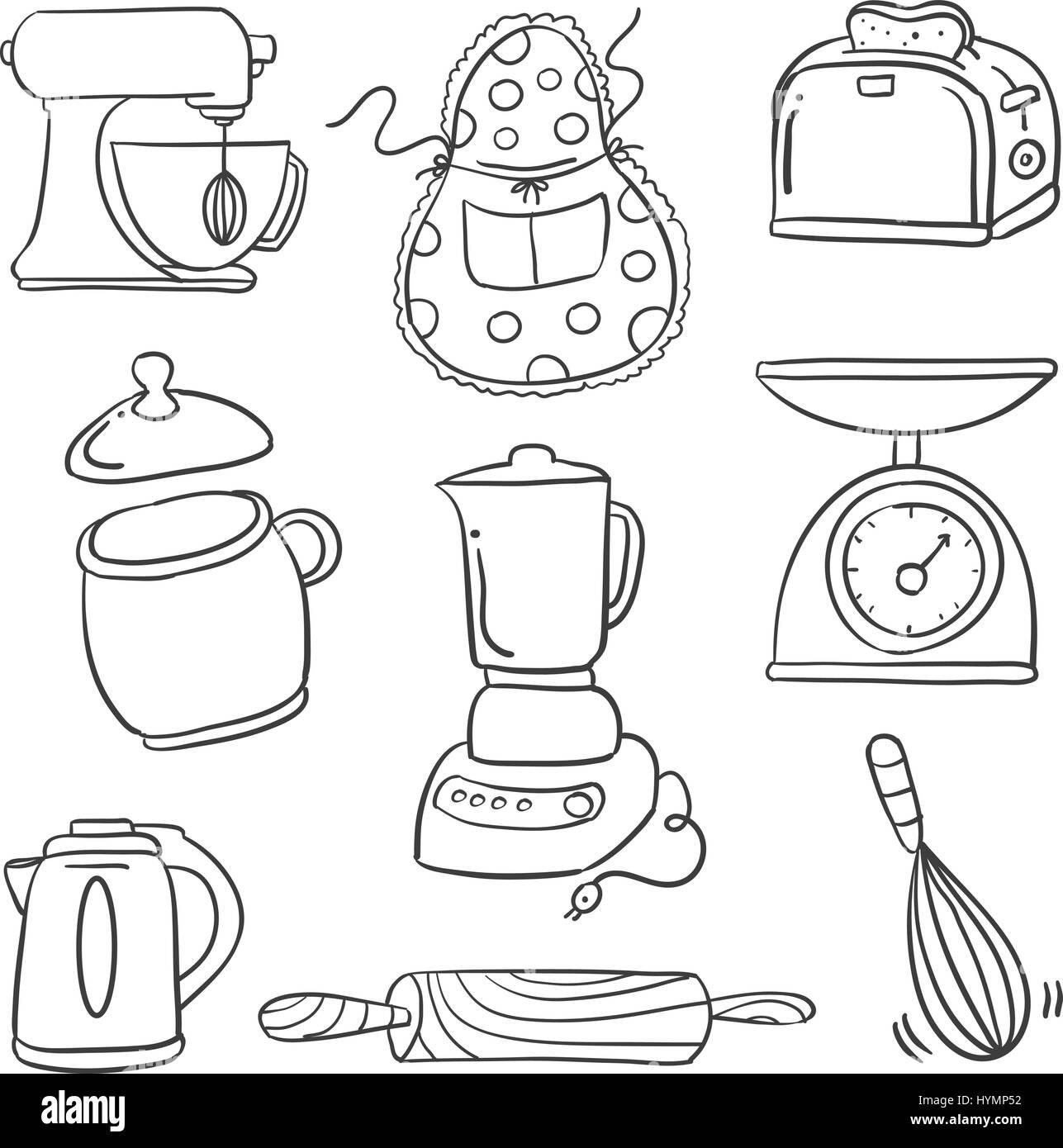 Kitchen Set Hand Draw Doodle Stock Photos Kitchen Set Hand Draw