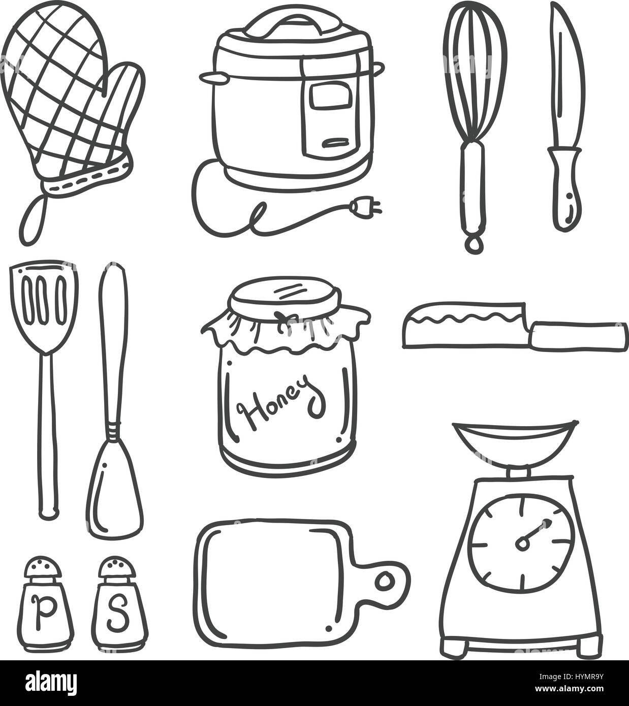 Kitchen Set Hand Draw Style High Resolution Stock Photography And Images Alamy