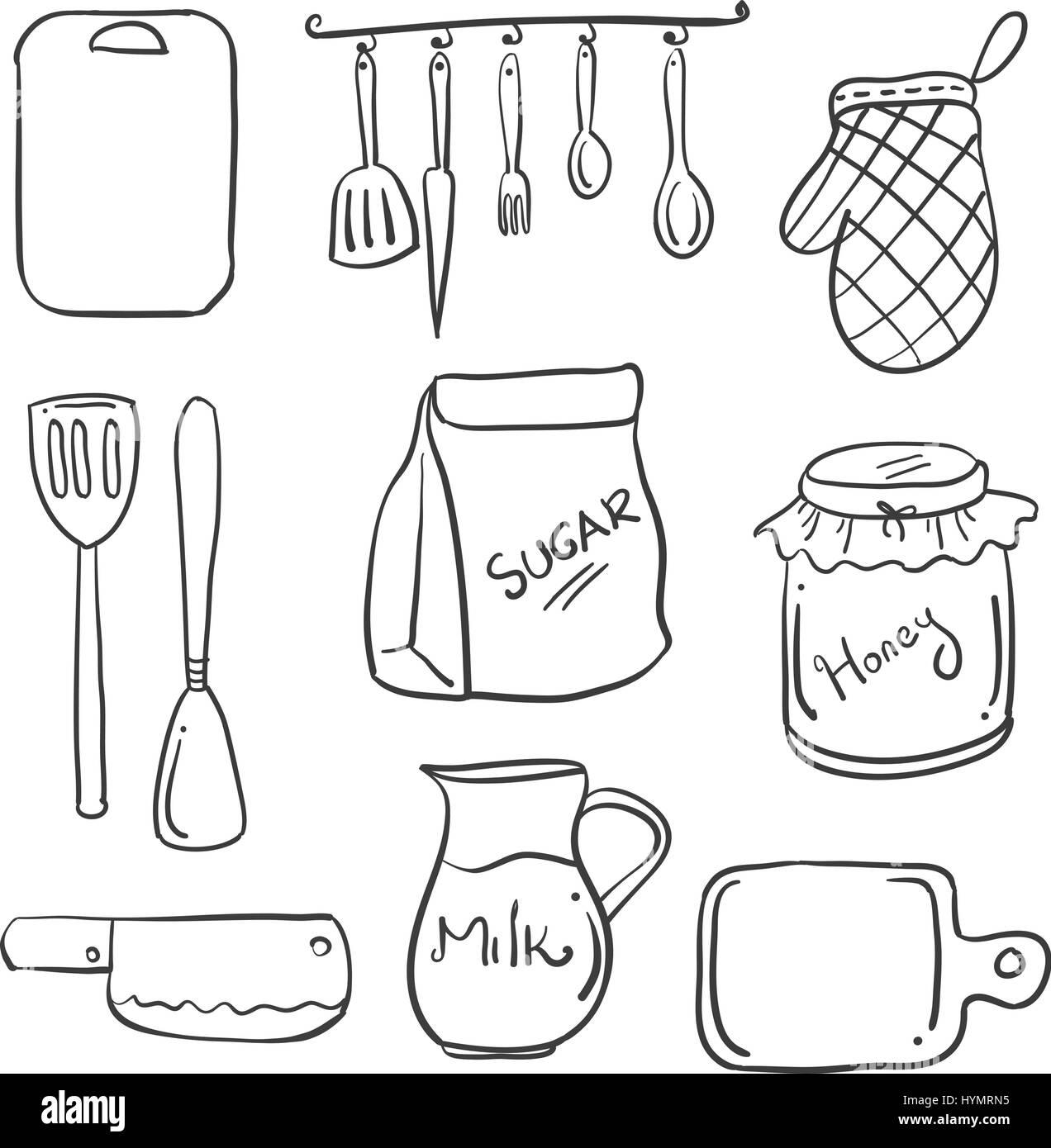 Hand Draw Of Kitchen Set Doodles Stock Vector Art Illustration