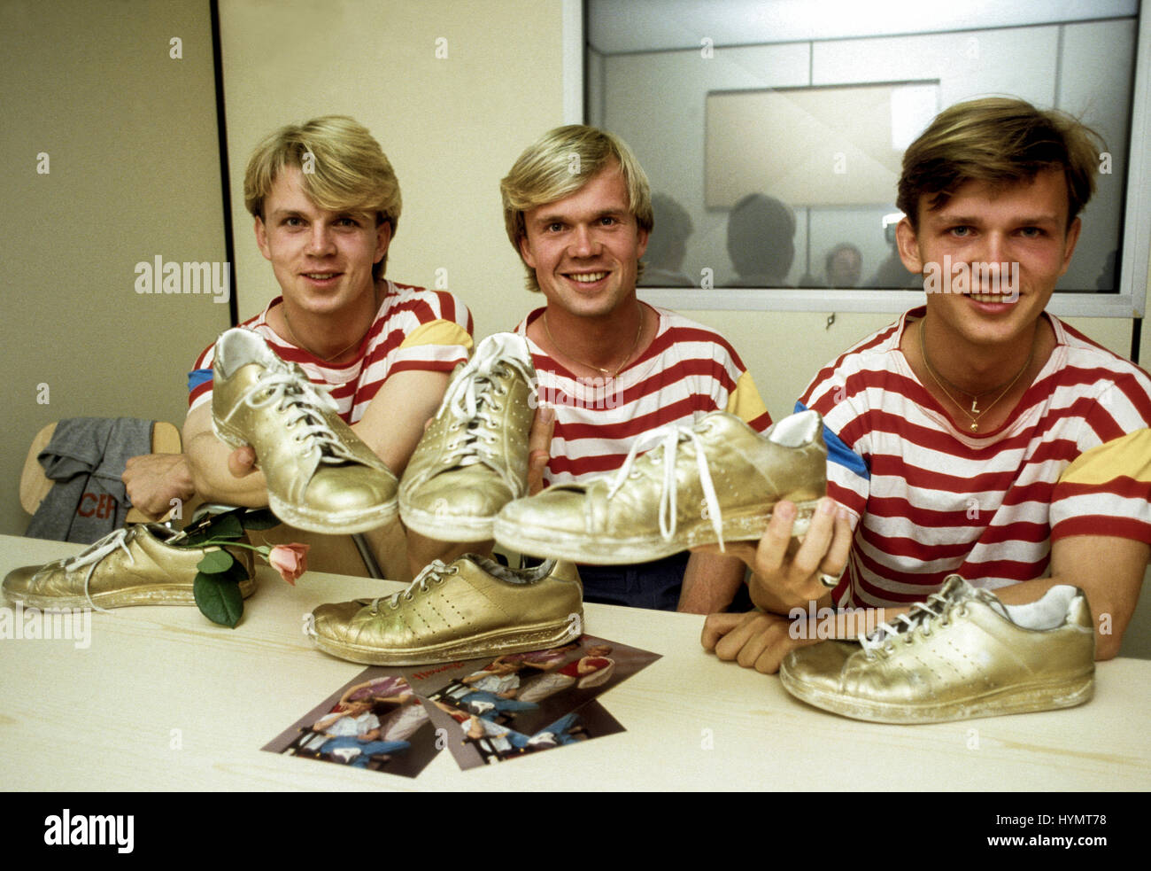HERREYS Swedish group with the brother Richard,Per och Louis in the Eurovision Song Contest which they won 1984 - Stock Image